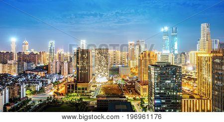 Aerial view of the city night China Nanchang.