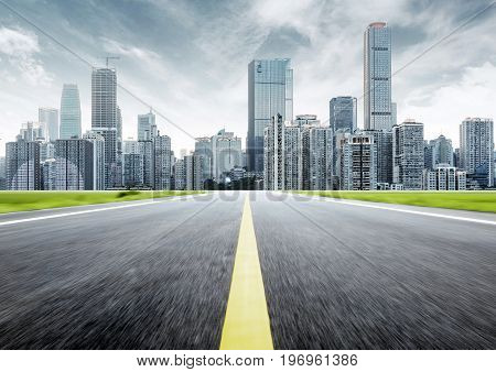 Dynamic ambiguous highway access and city skyline Chongqing China.