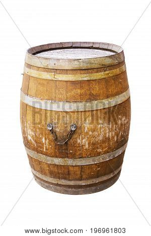 Old wooden barrel for wine with steel ring on white background.