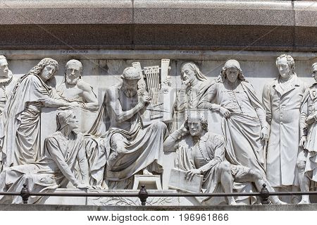 Prince Albert Memorial Kensington Gardens relief at the base of the monument London United Kingdom. It was commissioned by Queen Victoria in memory of her husband opened in July 1872