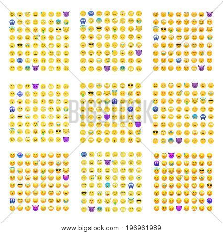 9 sets of cute smiley emoticons, emoji flat design isolated on white background, vector illustration. Faces, smiles, avatars. Big collection