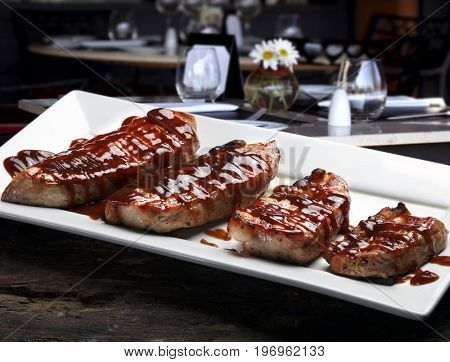Pork steak with barbecue sauce