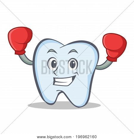 Boxing tooth character cartoon style vector illustration