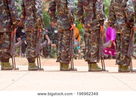 Loi Kaw Wan Myanmar - May 21: Unidentified Group Of Soldiers In A Training At Boot Camp On May 21 2017 In Loi Kaw Wan Myanmar.