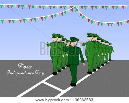 illustration of soldiers saluting and decoration with Happy Independence Day text on the occasion of Mexico Independence Day