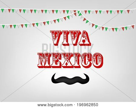 illustration of decoration and mustache with Viva Mexico Text on the occasion of Mexico Independence Day
