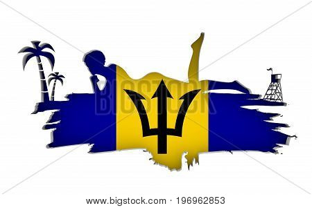 Young woman sunbathing on a beach. Cutout silhouette of the relaxing girl on a grunge brush stroke. Palm and lifeguard tower. Flag of the Barbados on backdrop. 3D rendering.