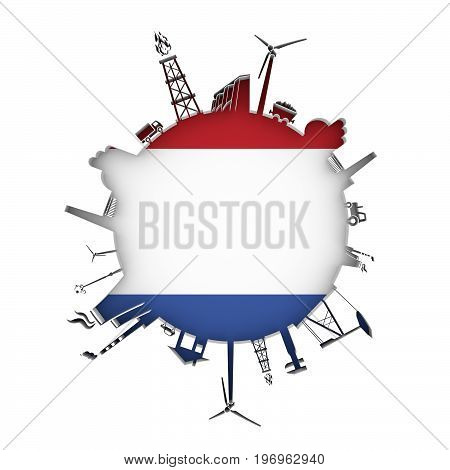 Circle with industry relative silhouettes. Objects located around the circle. Industrial design background. Flag of Netherlands in the center. 3D rendering.