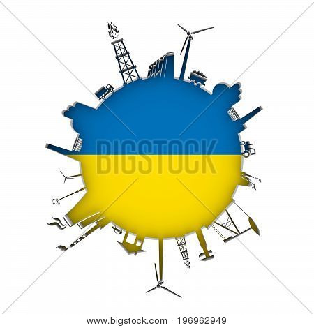 Circle with industry relative silhouettes. Objects located around the circle. Industrial design background. Flag of Ukraine in the center. 3D rendering.
