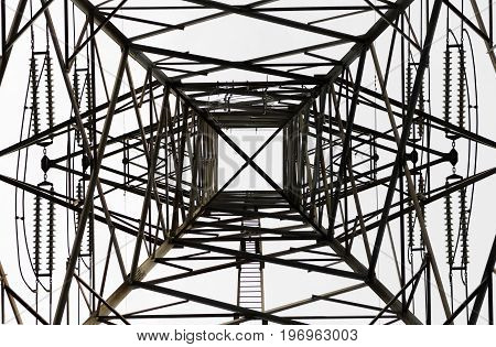 High Voltage Electrical Pole Structure, underneath view.