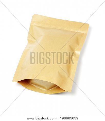 Sealed Craft Paper Pouch Bag Lying on White Background