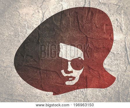 Portrait of beautiful woman in black sunglasses and big hat. Front view