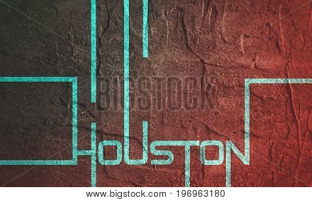 Houston text geometry design. Typography poster. Usable as background.