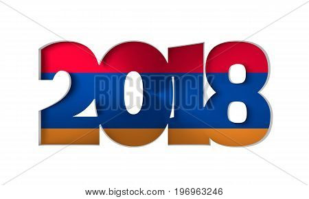 2018 Happy New Year Background for Seasonal Flyers and Greetings Card or Christmas themed invitations. Flag of the Armenia. 3D rendering
