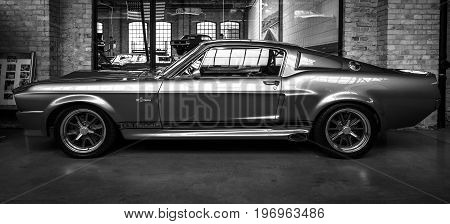 BERLIN - MAY 10 2015: Shelby GT 500E Super Snake 1968. Black and white. The Shelby is a higher performance variant of the Ford Mustang. 28th Berlin-Brandenburg Oldtimer Day