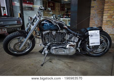 BERLIN - MAY 10 2015: Chopper Harley-Davidson Softail Fat Boy 2002. The 28th Berlin-Brandenburg Oldtimer Day