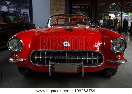 BERLIN - MAY 10 2015: Sports car Chevrolet Corvette (C1) by Heidi Hetzer. 28th Berlin-Brandenburg Oldtimer Day