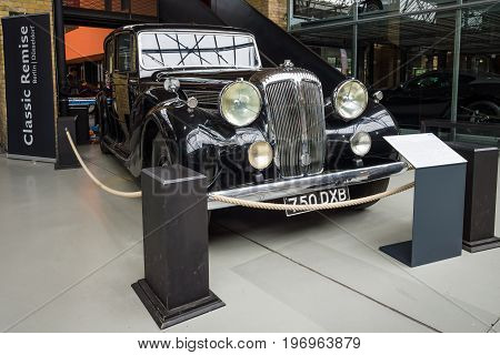 BERLIN - MAY 10 2015: Luxury car Daimler DE 36 (Straight-Eight Hooper Landaulet) 1949. The 28th Berlin-Brandenburg Oldtimer Day