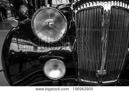 BERLIN - MAY 10 2015: Fragment of a luxury car Daimler DE 36 (Straight-Eight Hooper Landaulet) 1949. Black and white. 28th Berlin-Brandenburg Oldtimer Day