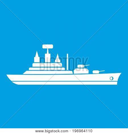 Warship icon white isolated on blue background vector illustration