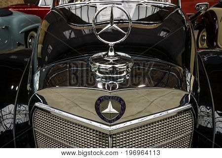 BERLIN - MAY 10 2015: Fragment of a limousine Mercedes-Benz 300 S Cabriolet (W 188 I) 1953. Produced 203 cars. 28th Berlin-Brandenburg Oldtimer Day