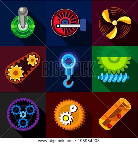 Mechanical gear icons set. Flat set of 9 mechanical gears vector icons for web with long shadow