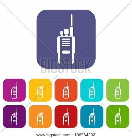 Radio icons set vector illustration in flat style in colors red, blue, green, and other