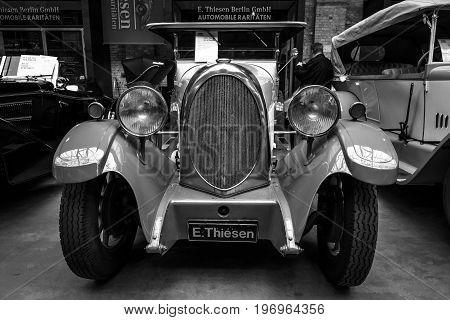 BERLIN - MAY 10 2015: Vintage car of the German manufacturer NAG D4 10/45 Phaeton. Black and white. 28th Berlin-Brandenburg Oldtimer Day