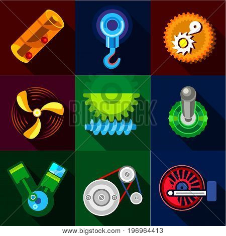 Type of mechanism icons set. Flat set of 9 type of mechanism vector icons for web with long shadow