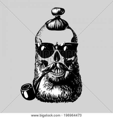 Skull. Hipster skull silhouette with mustache, beard, hairstyle, tobacco pipe and glasses. Perfect for t-shirt print and tattoo. The raster version.