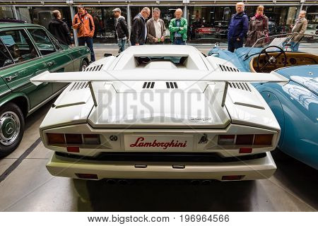 BERLIN - MAY 10 2015: A mid-engined supercar Lamborghini Countach LP 25th Anniversary 1990. Rear view. 28th Berlin-Brandenburg Oldtimer Day