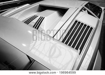 BERLIN - MAY 10 2015: Air vents a mid-engined supercar Lamborghini Countach LP 25th Anniversary 1990. Black and white. 28th Berlin-Brandenburg Oldtimer Day