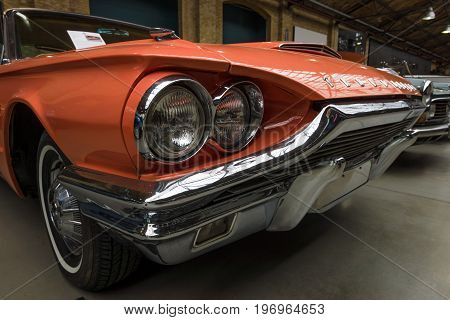 BERLIN - MAY 10 2015: A large personal luxury car Ford Thunderbird 390 Coupe (second generation) 1964. The 28th Berlin-Brandenburg Oldtimer Day