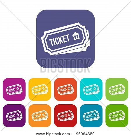Ticket icons set vector illustration in flat style in colors red, blue, green, and other