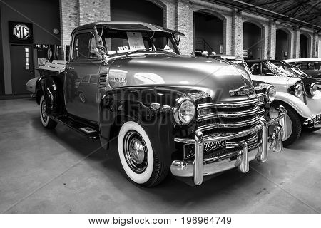 BERLIN - MAY 10 2015: Pickup truck Chevrolet Advance Design 3100. Black and white. 28th Berlin-Brandenburg Oldtimer Day