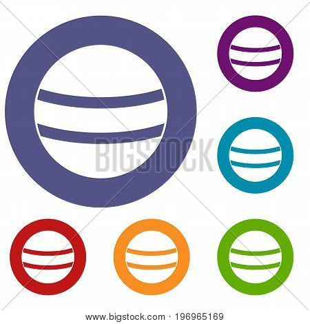Black with white stripes icons set in flat circle red, blue and green color for web