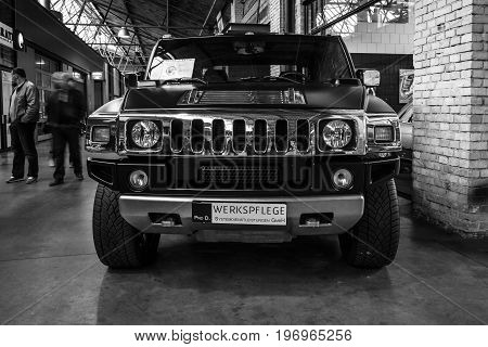 BERLIN - MAY 10 2015: Full-size SUV (crew cab truck) Hummer H2. Black and white. 28th Berlin-Brandenburg Oldtimer Day