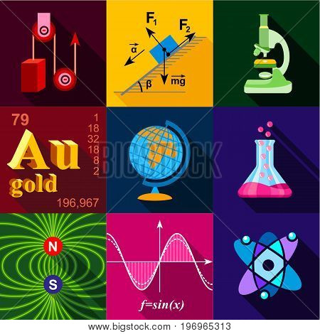 Science icons set. Flat set of 9 science vector icons for web with long shadow