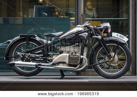 BERLIN - MAY 10 2015: Vintage motorcycle Zuendapp K800 1937. The 28th Berlin-Brandenburg Oldtimer Day