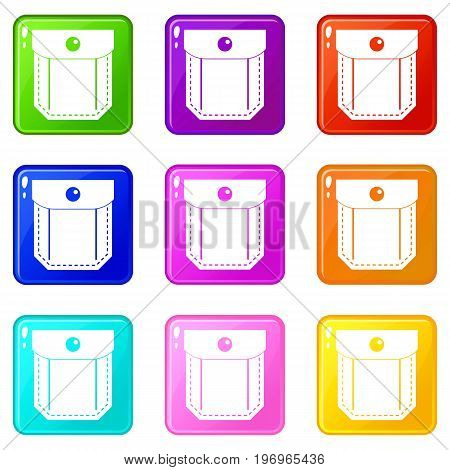 Pocket with valve and button icons of 9 color set isolated vector illustration