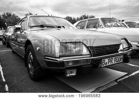 BERLIN - MAY 10 2015: Mid-size luxury car Citroen CX. Black and white. 28th Berlin-Brandenburg Oldtimer Day