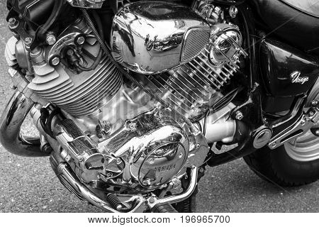 BERLIN - MAY 10 2015: Engine of the motorcycle Yamaha XV 750 Virago closeup 1993. Black and white. 28th Berlin-Brandenburg Oldtimer Day