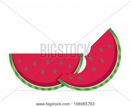 Water melon bitten piece cartoon vector illustration