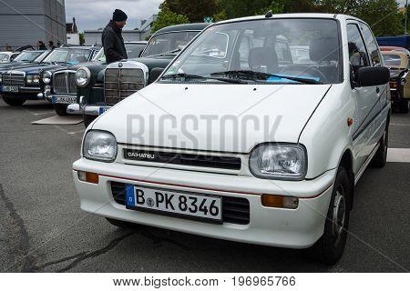 BERLIN - MAY 10 2015: City car Daihatsu Mira L200. 28th Berlin-Brandenburg Oldtimer Day