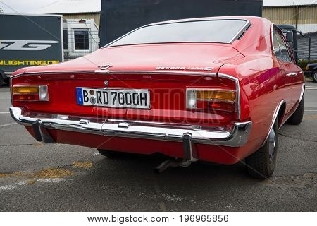 BERLIN - MAY 10 2015: Large family car Opel Ascona (for the US market Opel 1900). Rear view. 28th Berlin-Brandenburg Oldtimer Day