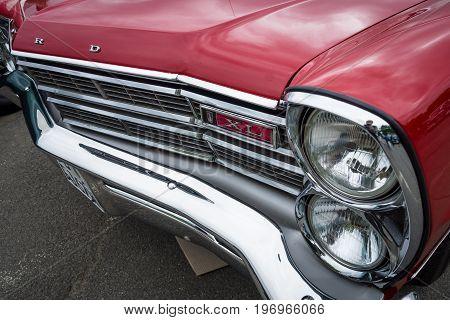 BERLIN - MAY 10 2015: Headlamp of a full-size car Ford Galaxie 500 / XL. 28th Berlin-Brandenburg Oldtimer Day