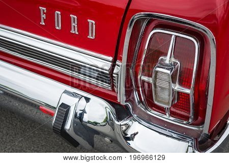 BERLIN - MAY 10 2015: Stoplight of a full-size car Ford Galaxie 500 / XL. 28th Berlin-Brandenburg Oldtimer Day