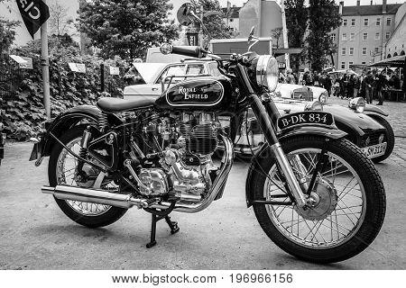 BERLIN - MAY 10 2015: Motorbike Royal Enfield Bullet 500 Classic. Black and white. 28th Berlin-Brandenburg Oldtimer Day