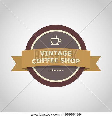 Coffee shop vintage badge style, stock vector