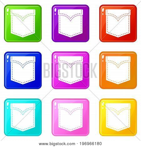 Black valve pocket icons of 9 color set isolated vector illustration